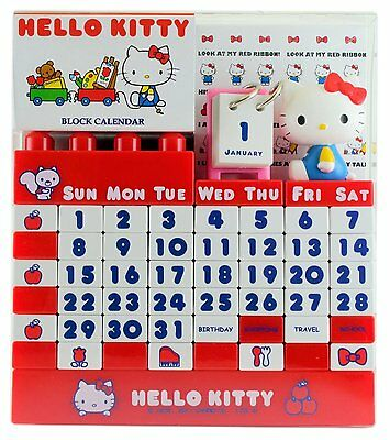Hello Kitty Block Calendar A-Works Red From Japan