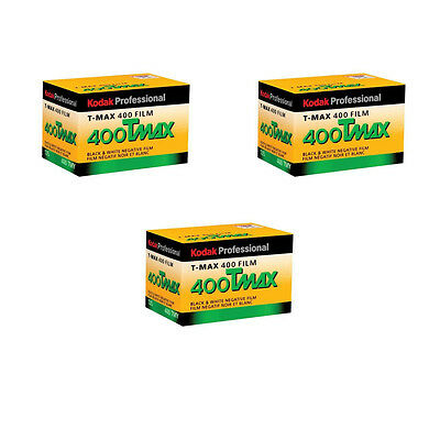 3 Rolls Kodak TMY-36 TMAX 400 Black and White Negative Print Film FRESH DATE