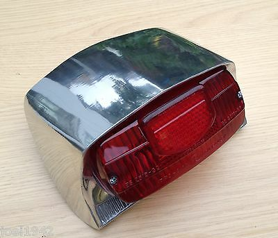 COMPLETE POLISHED ALLOY REAR LIGHT UNIT. scootRS.FOR LAMBRETTA LI SERIES 3 NEW