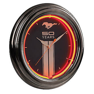 Mustang Fiftieth Anniversary 50 Years Pony Logo Orange Neon Lighted Wall Clock