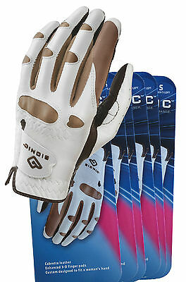 6 Bionic Ladies Stable Grip Natural Fit Golf Gloves/Truffle - Right & Left Hand