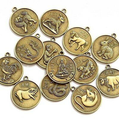12Pcs Copper Coated Tibet Buddhist Bodhisattva Chinese Zodiac 12 Animals Beads F