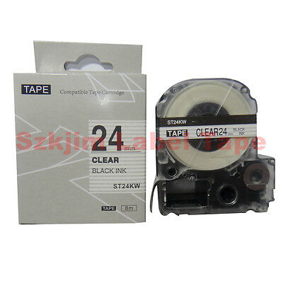 EPSON24mm LC-6TBW Compatible Label Tape Black on Clear 24mm 8m  Lw600 700