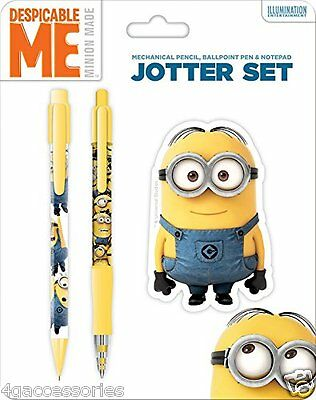 Despicable Me Minion Made Jotter Set Mechanical Pencil Ballpoint Pen & Notepad