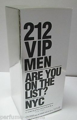 Carolina Herrera 212 VIP 3.4oz 100ml Men Eau de Toilette Original & Sealed Box