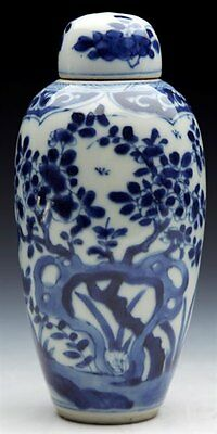 Antique Chinese Kangxi Floral Decorated Lidded Jar 1662 - 1722