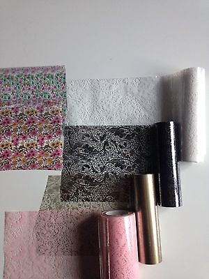 Hot Foil Roll 2 rolls x 5m 90mm wide colours crafts cards Fantasy Lace Floral