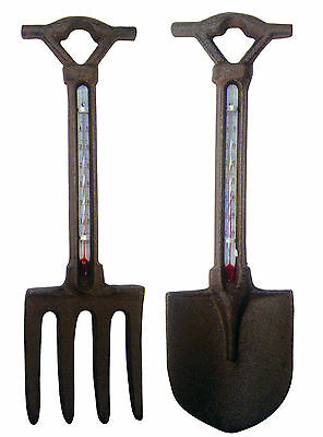 Cast Iron Fork or Spade Garden Thermometer