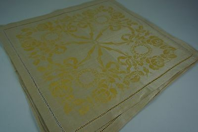 VINTAGE DOUBLE DAMASK LINEN Tablecloth & 6 Match Napkins 58x86 Gold Off-White Ye