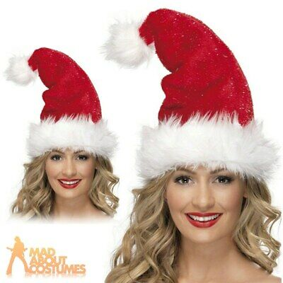 Ladies Deluxe Santa Hat Tinsel Father Christmas Fancy Dress Accessory New