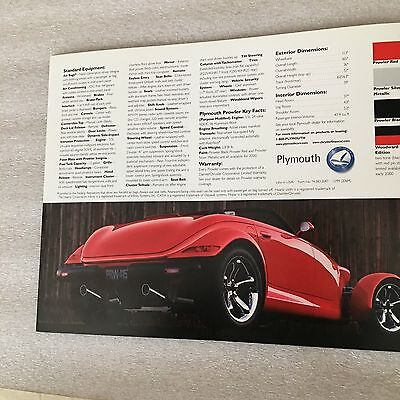 2000 Plymouth Prowler 5 Page Sales Brouchure; Brand New