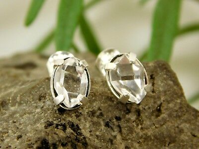 NY Herkimer Diamond Quartz Crystal Earrings set in Sterling Silver 6x8 mm Q3