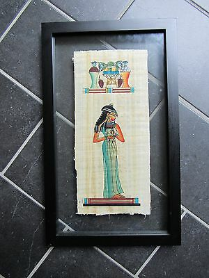 """Egyptian Papyrus Wall Art """"Queen"""" Framed GORGEOUS Unique One of a Kind Painting"""