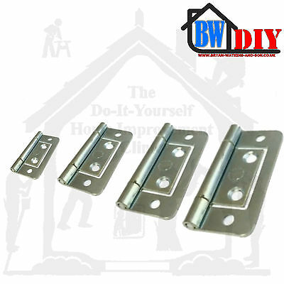 Chrome /Silver / Zinc Flush Door Hinges Cabinet Cupboard Toy Box Various Sizes