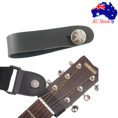 Genuine Leather Guitar Strap Button Hook for Acoustic/Folk/ Classic Guitar Black