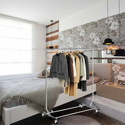 Adjustable Metal Hanging Clothes Rail Garment stand Rack with Shoes Shelf