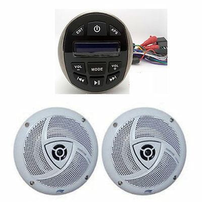 Autoradio Marin Etanche Usb/mp3/bluetooth Chromé + Paire De Hp 120W