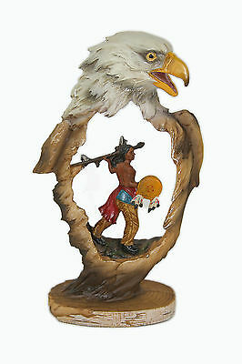 Native American And Eagle Statue Figurine
