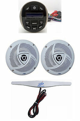 Autoradio Marin Etanche Usb/Mp3/Bluetooth Chromé + Paire De Hp 120W + Antenne