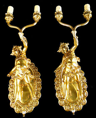 Antique pair of French solid bronze sconces, with sculptures
