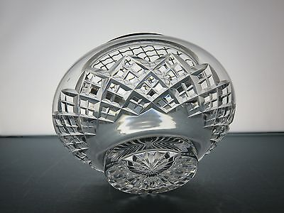 Marvelous Cut Glass  Rose Bowl With Silver Metal Grid