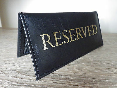5 X RESERVED | menu table sign leather look table top | pub hotel RESTAURANT