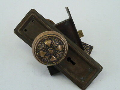 Antique Victorian Brass Door Knob And Covers With Mortise Lock