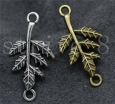 10/40/200pcs Antique Silver Beautiful Leaves Charms Connectors Craft DIY 32x17mm