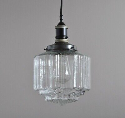 "Buster-Industrial Pendant Light-""patina Black""-St Kilda Clear Glass Deco Shade"