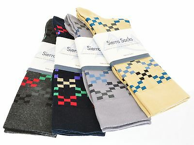 Sierra Socks Men's Cotton Dress Casual Geometric Design Crew Sock M121B111  2310