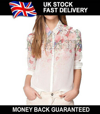 New Long Sleeve Womens Floral Collar Loose Casual Chiffon Tops Shirt Blouse lot