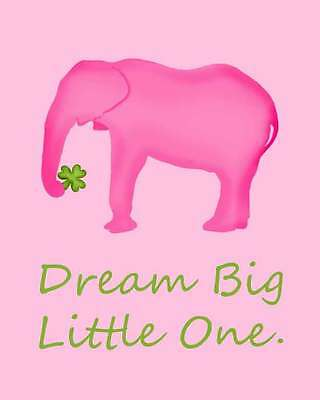 Pink Elephant Lucky Clover Baby Nursery Girl Bedroom Party Wall Art 8X10 Decor
