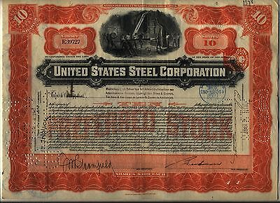 1907 United States Steel Corporation Stock Certificate Foreign Tax Stamp US