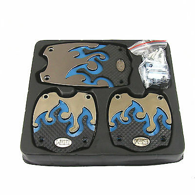 Nonslip Car Manual Blue Flame Accelerator Brake Clutch Foot Pedal Mat Pad Cover