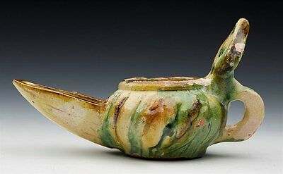 Islamic Antiquity Glazed Pottery Oil Lamp 10Th – 11Th C.