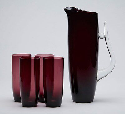 Contemporary Art Amethyst Jug And Glasses 20Th C.