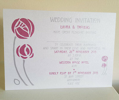 Charles Rennie Mackintosh Personalised Wedding Invitation Scottish SAMPLE D02