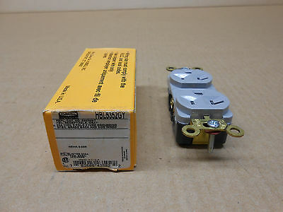 1 Nib Hubbell 5352Gy Hbl5352Gy Gray Receptacle 20A 125V 2 Pole 3 Wire