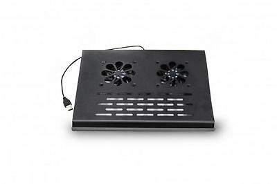 "2 Fan Notebook Laptop Two Fan Cooler Stand Pad Blue LED USB Port 14"" 15.6"""