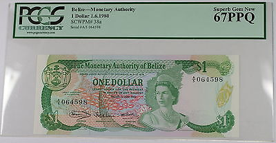 1.6.1980 Belize Monetary Authority $1 Note SCWPM# 38a PCGS 67 PPQ Superb Gem New