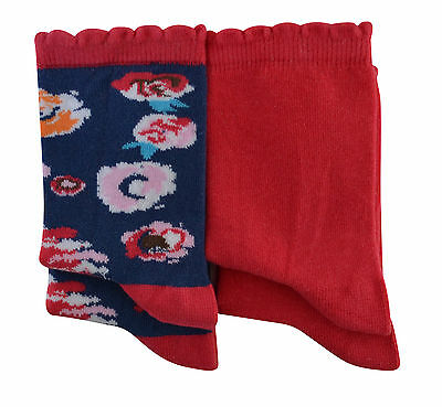 Girls 90% soft cotton 2 pairs floral and Plain socks Various sizes