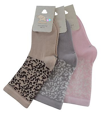 Girls socks  3 Pairs Pink Grey & Thorn  90% Cotton Various sizes