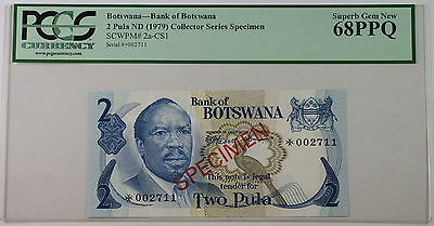 (1979) Botswana 2 Pula Specimen Note SCWPM# 2a-CS1 PCGS 68 PPQ Superb Gem New
