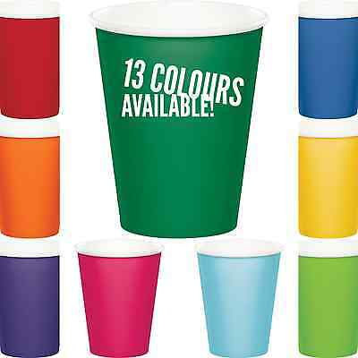 8x SOLID COLOUR DISPOSABLE PAPER CUPS BIRTHDAY PARTY BABY SHOWER PARTY