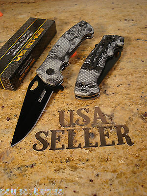 Tac-Force Grey Skull Spring Assisted Tactical Rescue Folding Pocket Knife New