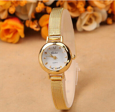 Fashion Women's Lady Bracelet Stainless Steel Crystal Dial Quartz Wrist Watch