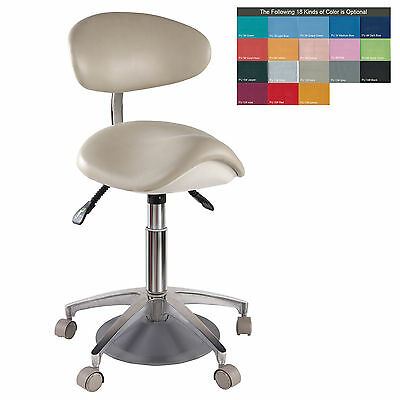 PU Leather Medical Dentist Saddle Chair Foot Controlled Mobile Doctors' Stool