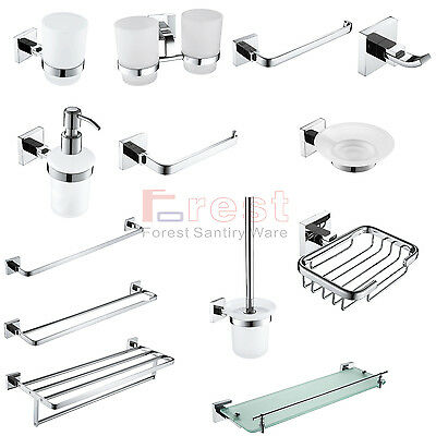 Modern Square Bathroom Accessories Set Chrome Finish Wall Mounted High Quality