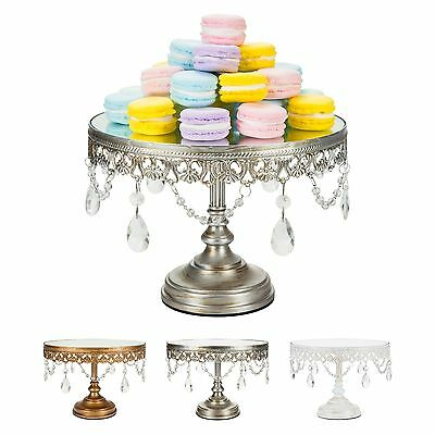 10-Inch Mirror CAKE STAND Crystal Round Metal Wedding Event Display Pedestal