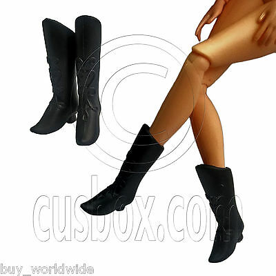 """Black Rubber Pointy Shoes Lace Up Long Tall Boots for Barbie 12"""" Dolls Figures"""